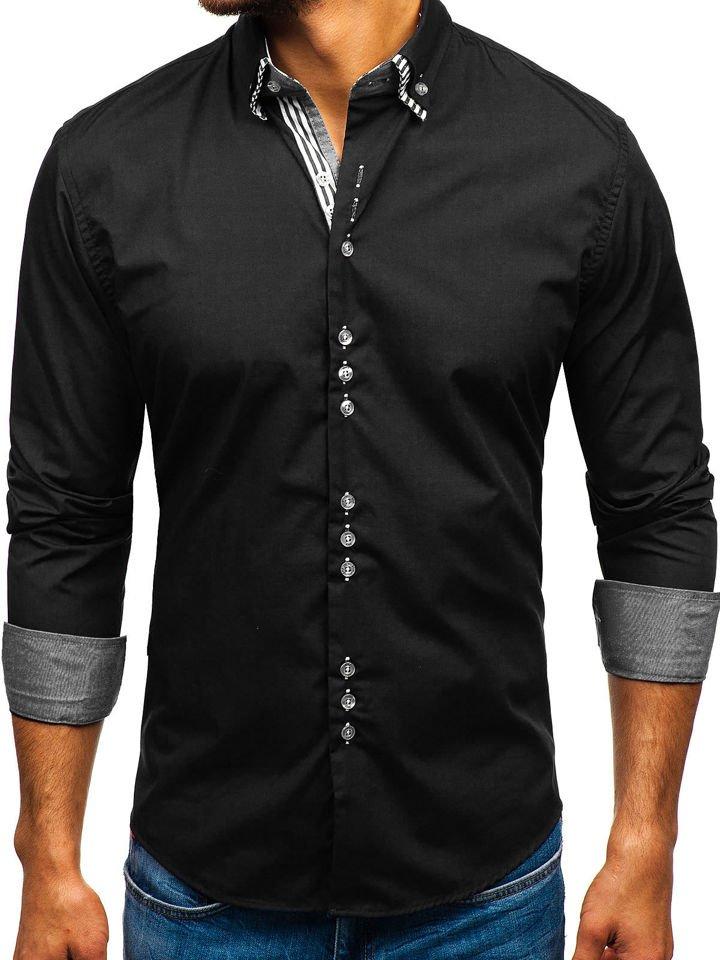 Cămașă elegantă cu mâneca lungă pentru bărbat neagră Bolf 4703