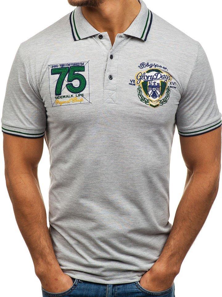 Tricou polo pentru bărbat gri Bolf 0605