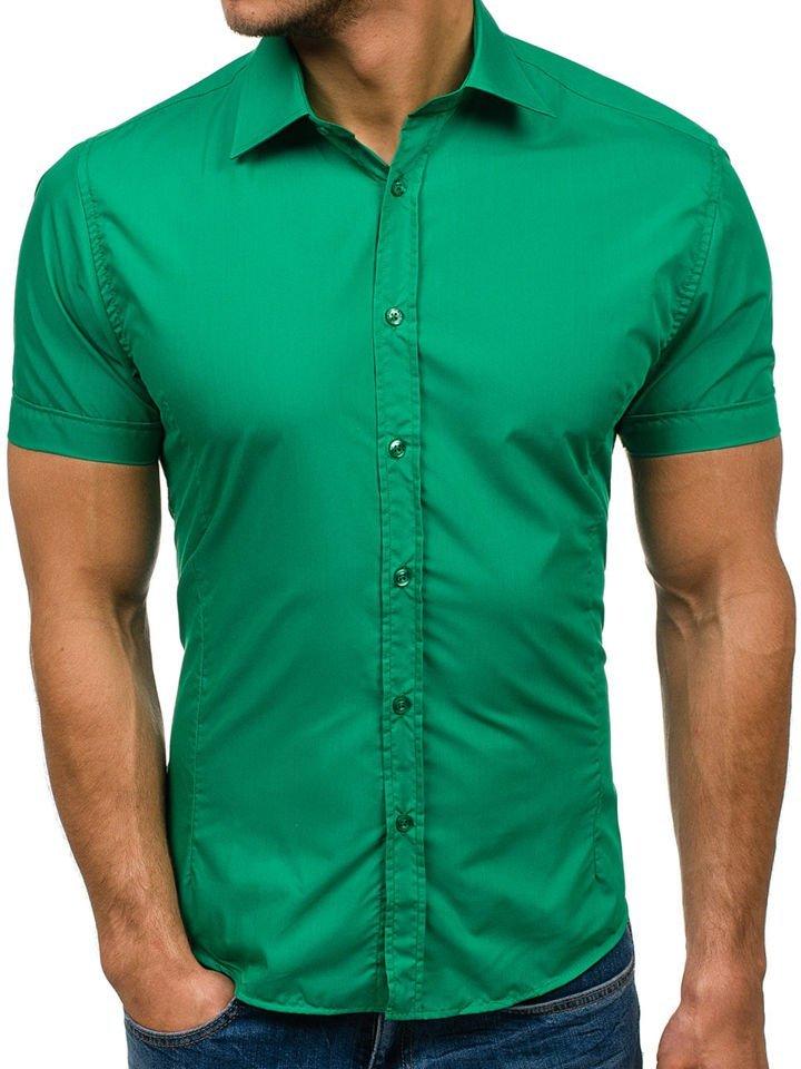 Cămașă elegantă cu mâneca scurtă pentru bărbat verde Bolf 7501 imagine