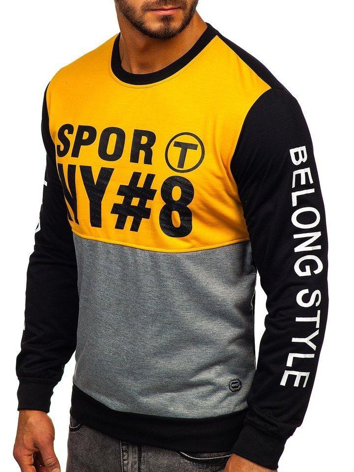 Bluza cu imprimeu bărbati galbena Bolf HY541 imagine