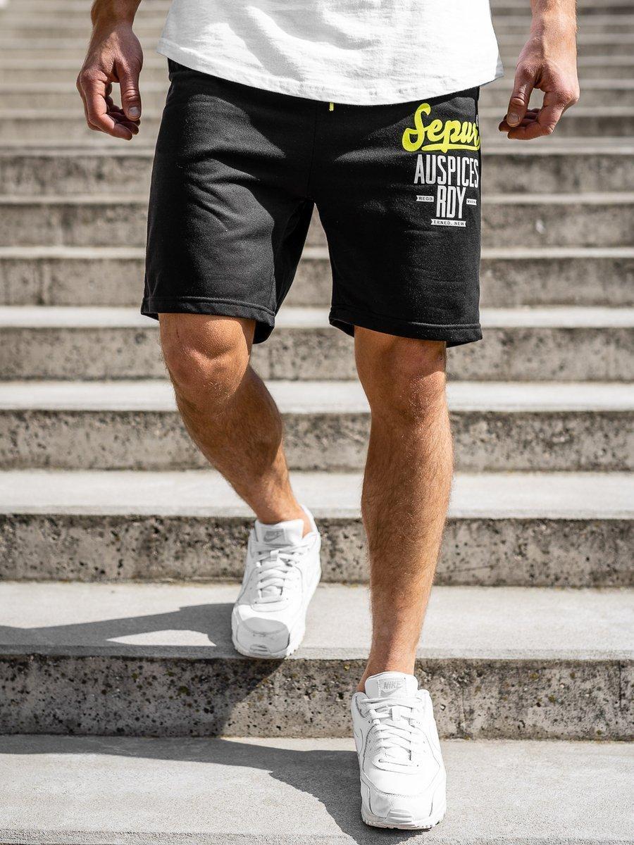 Pantaloni scurți de trening negri bărbați Bolf EX07-1 imagine