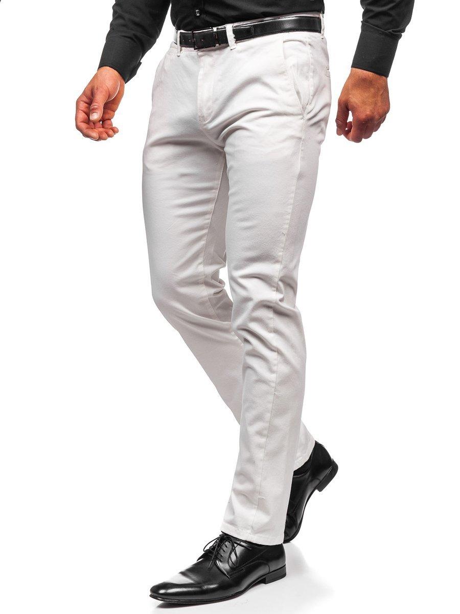 Pantaloni chinos albi bărbati Bolf 1143 imagine