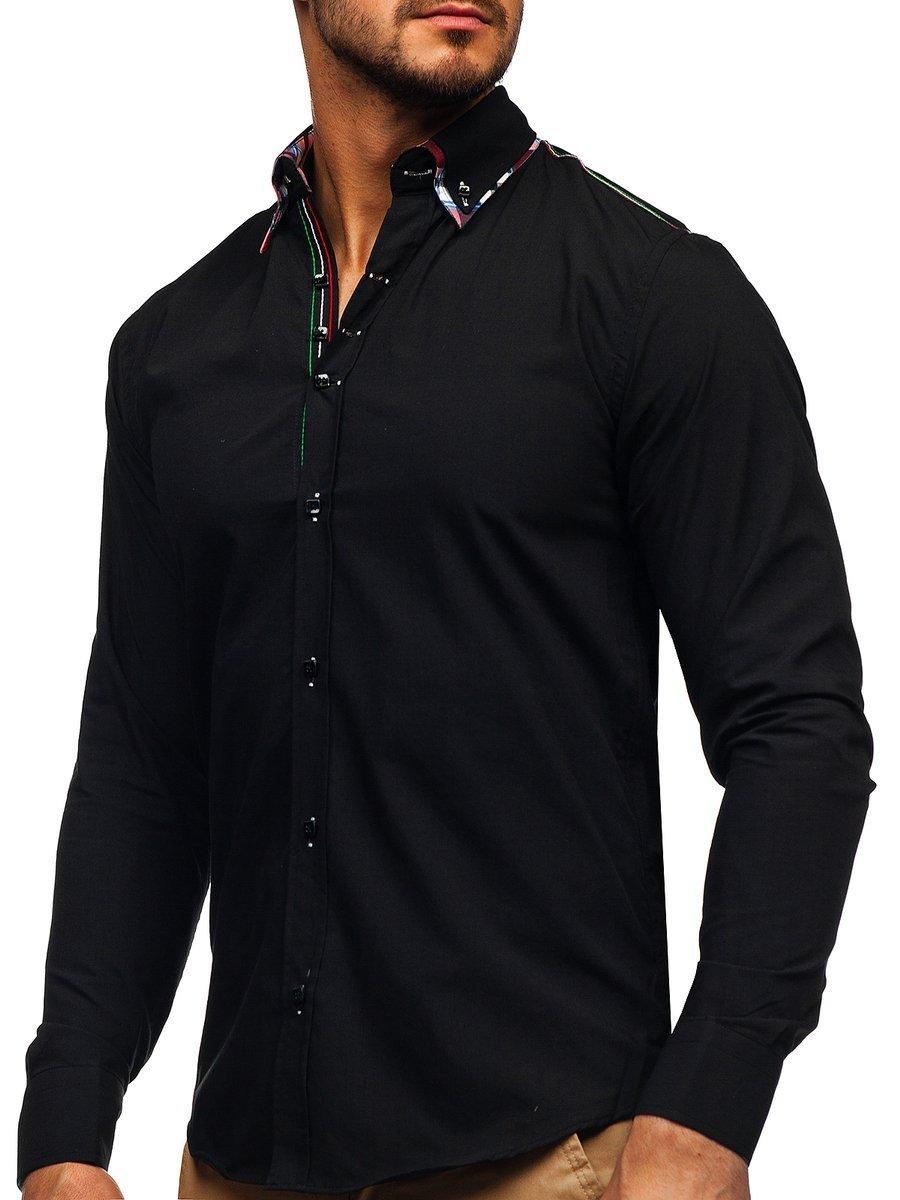 Cămașă elegantă cu mâneca lungă pentru bărbat neagră Bolf 2705