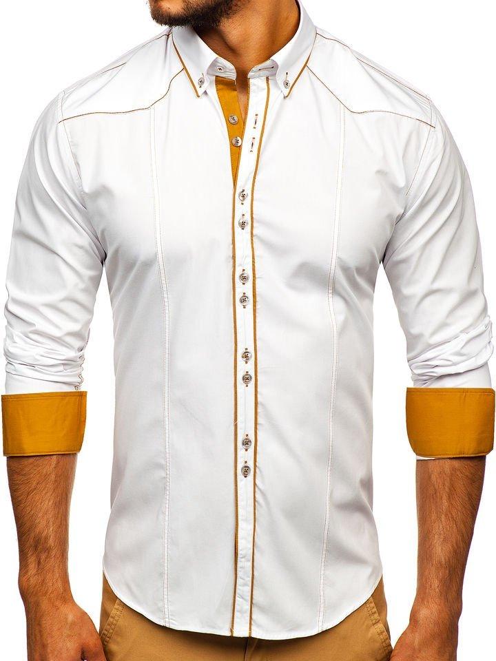 Cămașă elegantă pentru bărbat cu mâneca lungă albă Bolf 4777