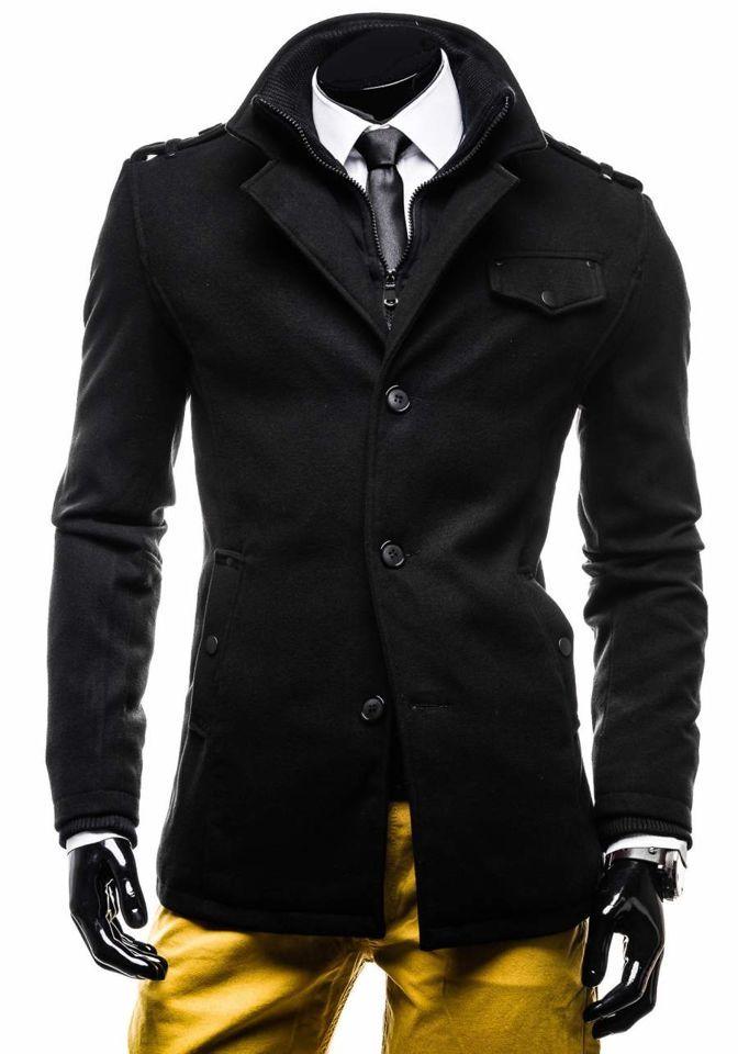 Palton negru bărbați un rând de nasturi guler înalt Bolf 8853DE