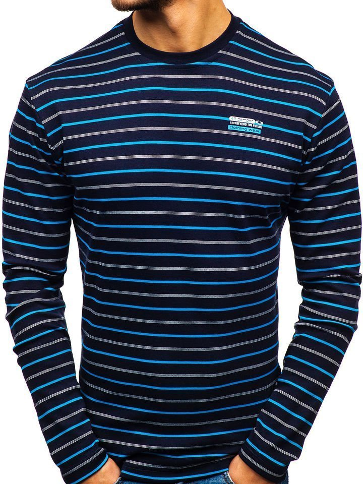 Bluză în dungi bărbați bleumarin Bolf 1519-1