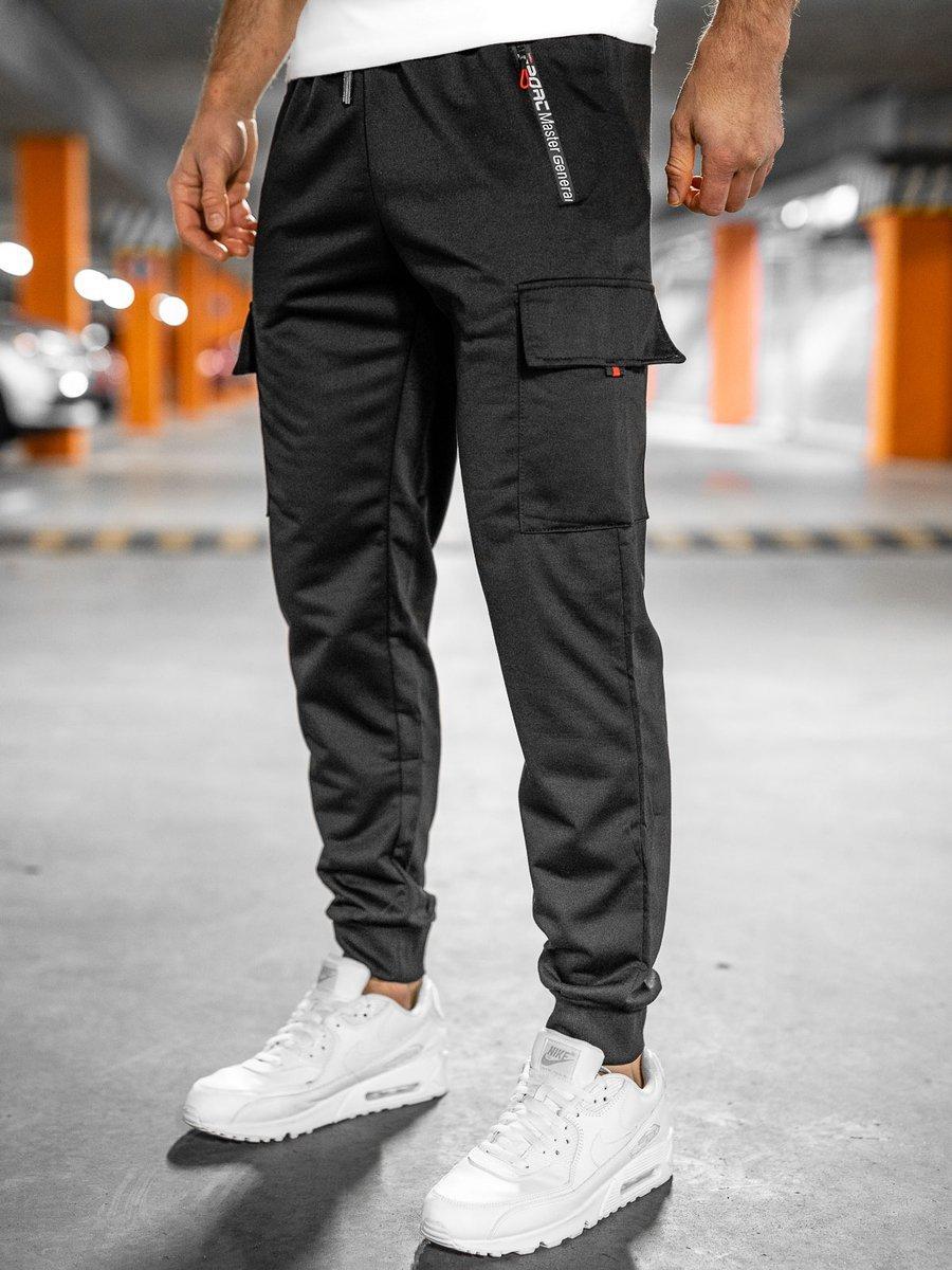 Pantaloni de trening cargo negri Bolf JX9506