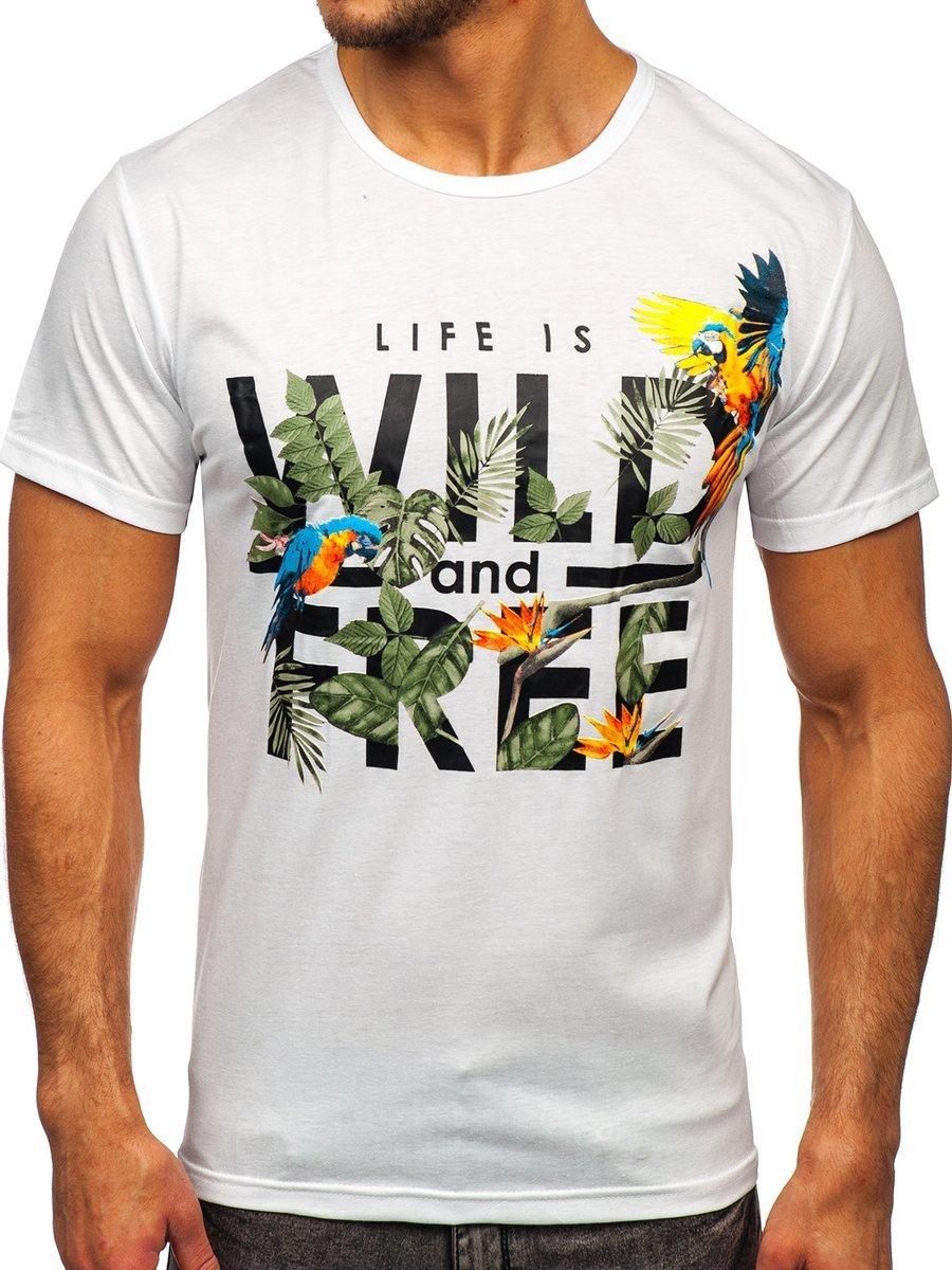 Tricou alb cu imprimeu Bolf KS2550
