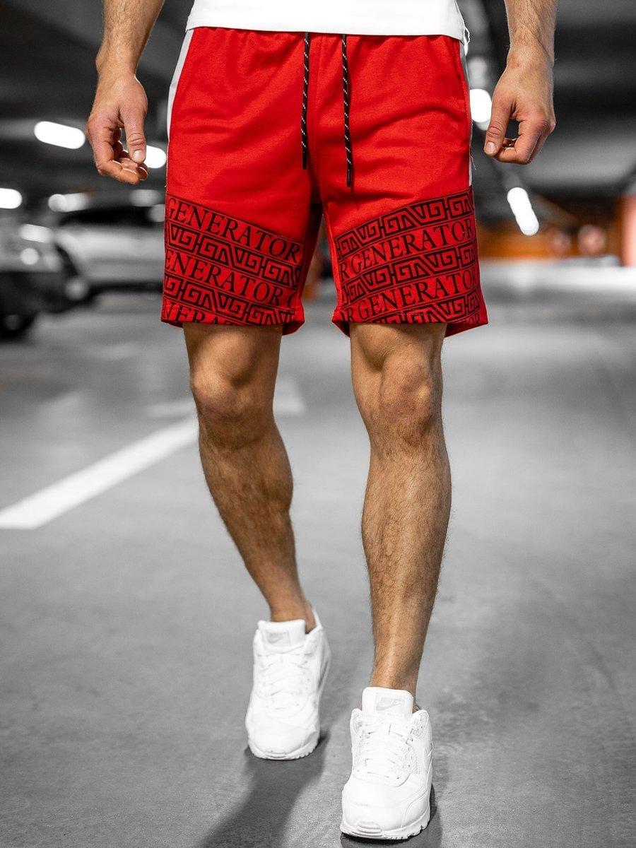 Pantaloni scurți de trening roșii Bolf KS2563