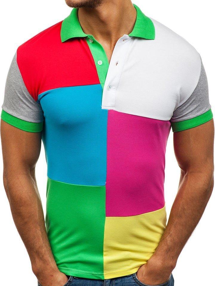Tricou polo pentru bărbat verde Bolf 4037 imagine