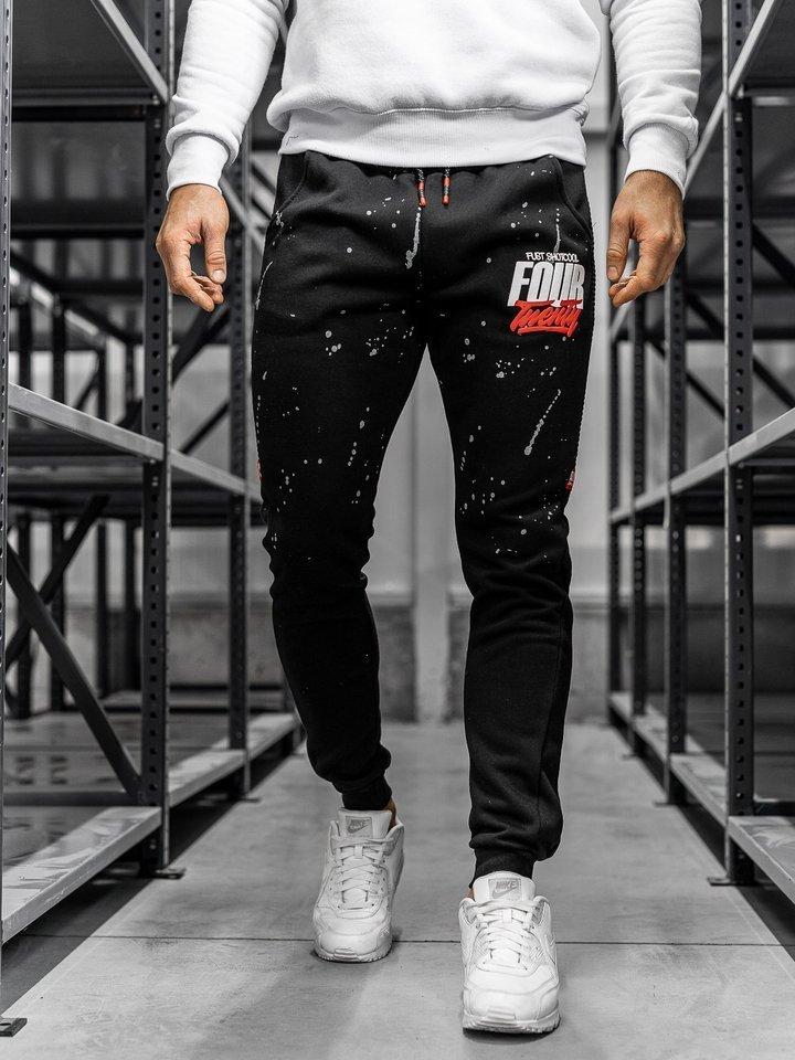 Pantaloni sportivi joggers pentru bărbat negri Bolf AM033