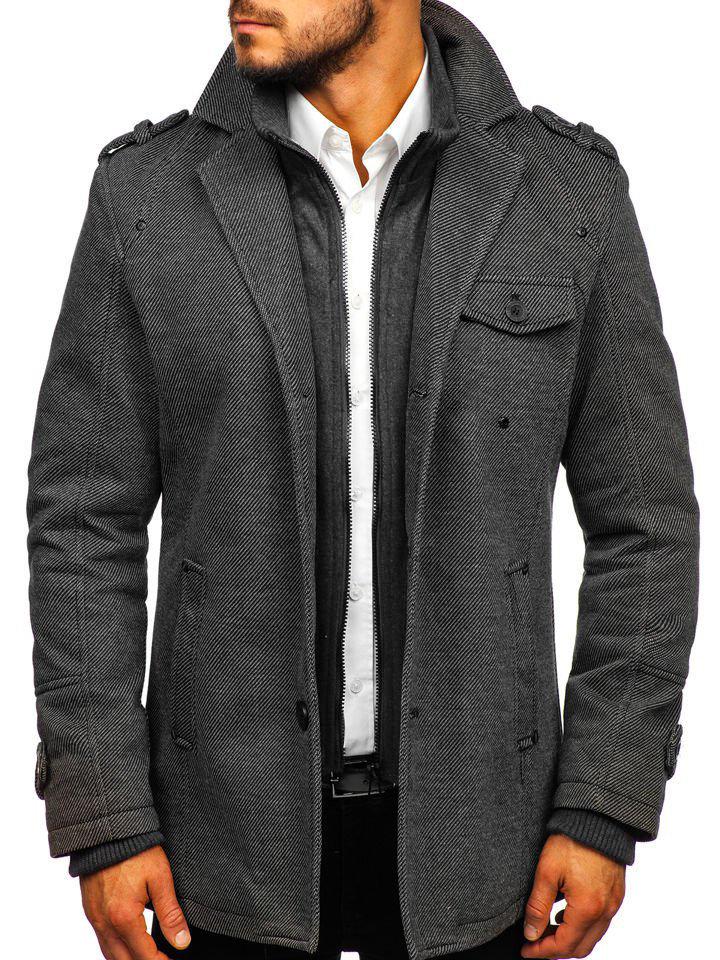 Palton de iarnă pentru bărbat gri Bolf 88801