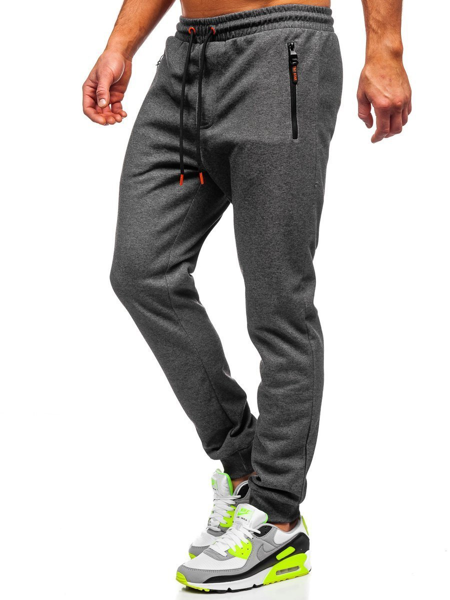 Pantaloni de trening grafit-portocaliu bărbați Bolf Q1054 imagine
