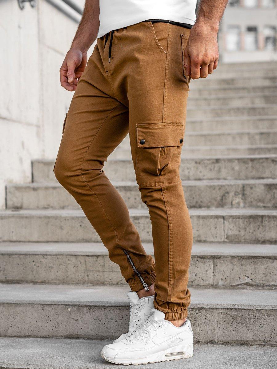 Pantaloni joggers cargo camel Bolf 0858