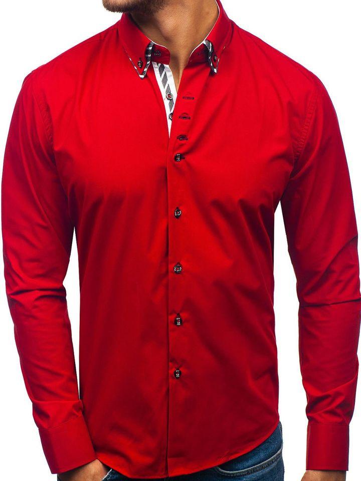 Cămașă cu mâneca lungă pentru bărbat roșie Bolf 3762 imagine