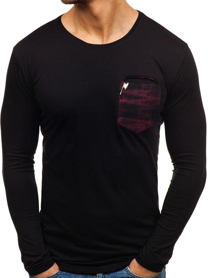 Long sleeve fără imprimeu pentru bărbat negru-roșu Bolf 355
