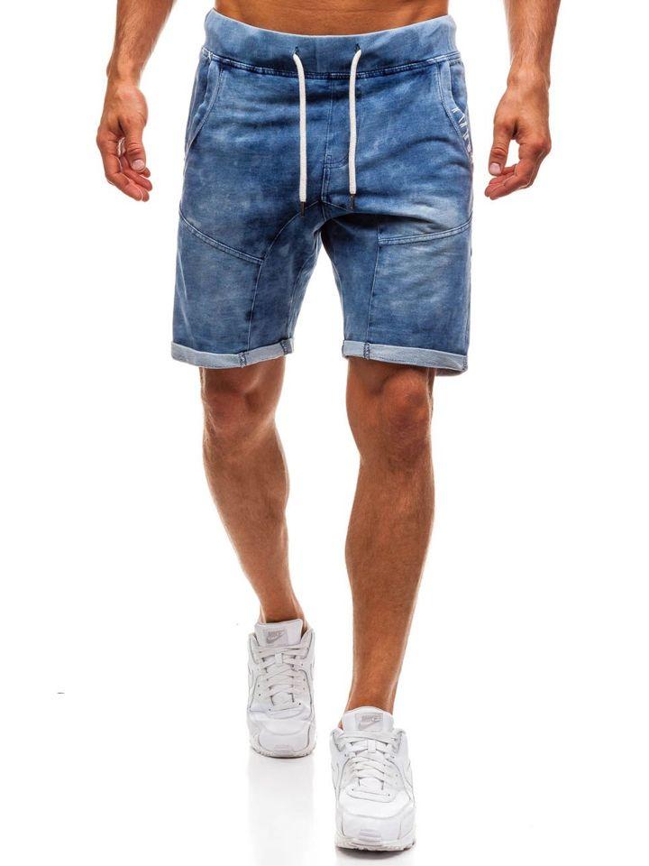 Pantaloni scurți denim bărbați bleumarin Bolf EX01
