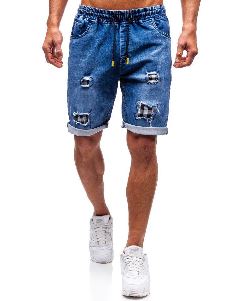 Pantaloni scurți denim bărbați bleumarin-galben Bolf HY328 imagine