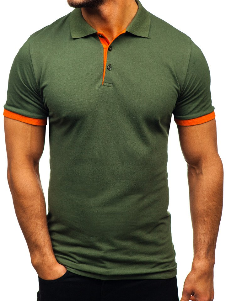 Tricou polo bărbați verde Bolf 171222 imagine