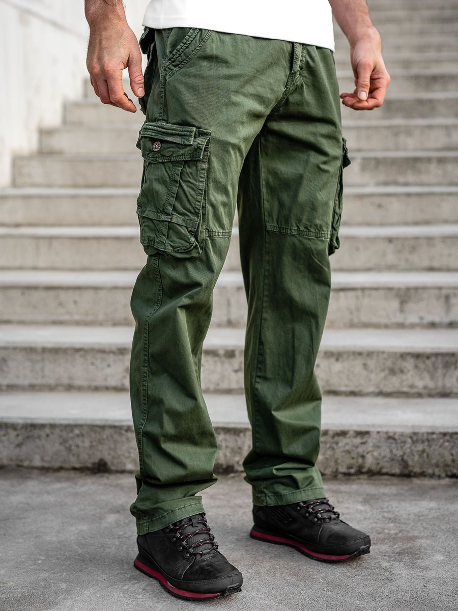 Pantaloni plus size verzi cargo cu curea Bolf CT8901 imagine
