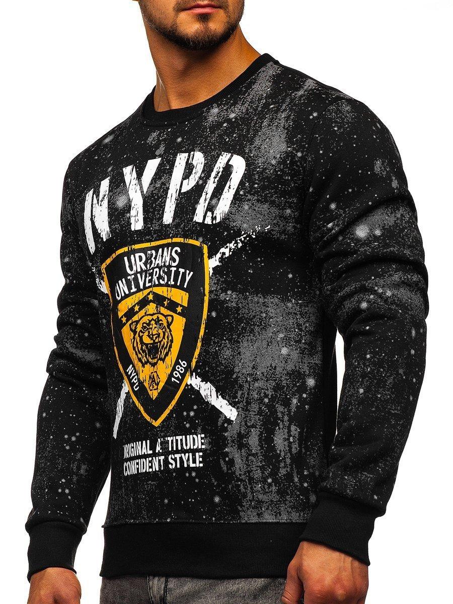Bluză cu imprimeu neagră bărbați Bolf DD261 imagine