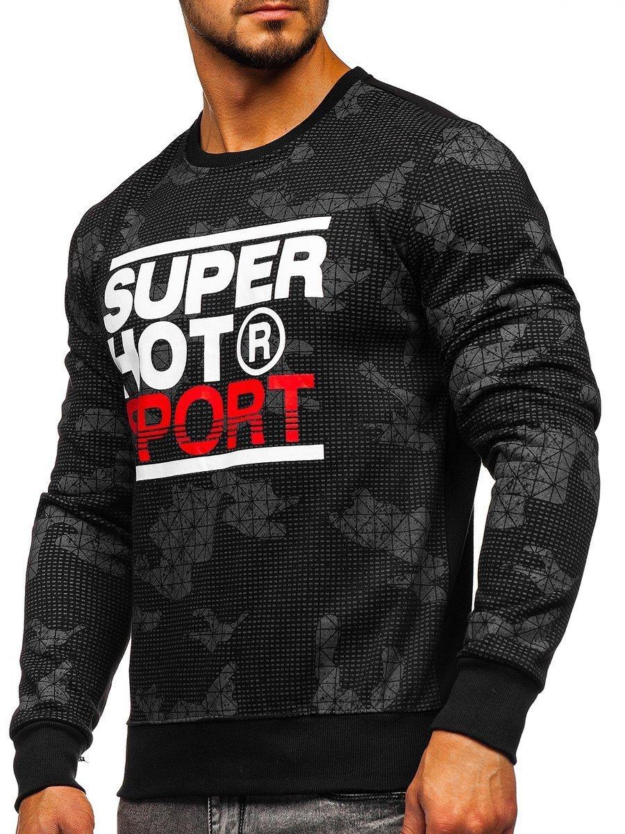 Bluză pentru bărbat fără glugă cu imprimeu neagră Bolf DD391