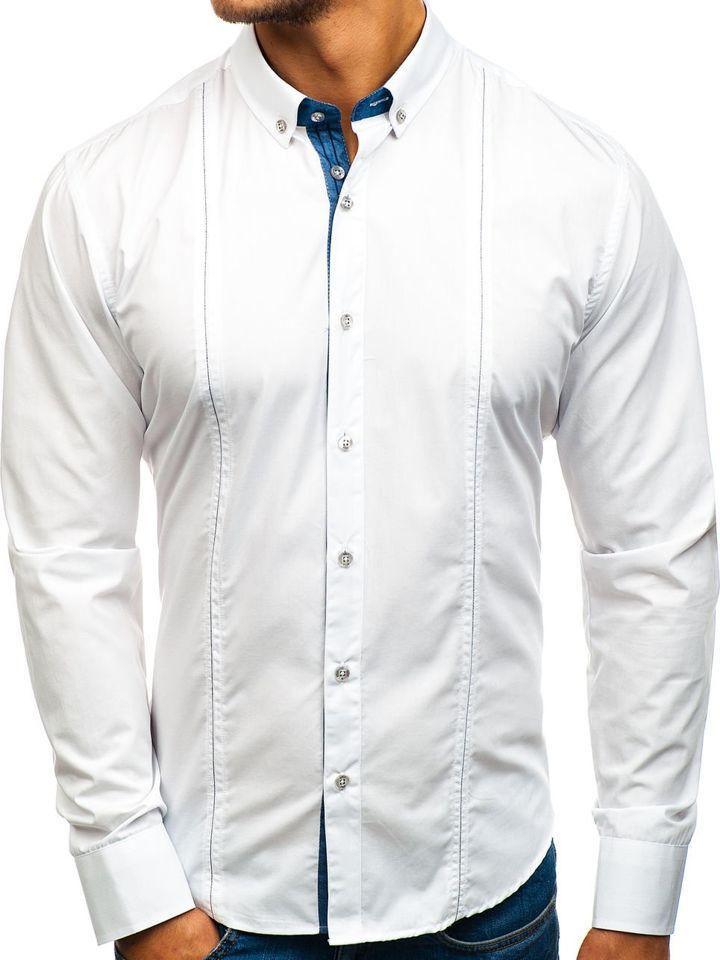 Cămașă elegantă pentru bărbat cu mâneca lungă albă Bolf 8822
