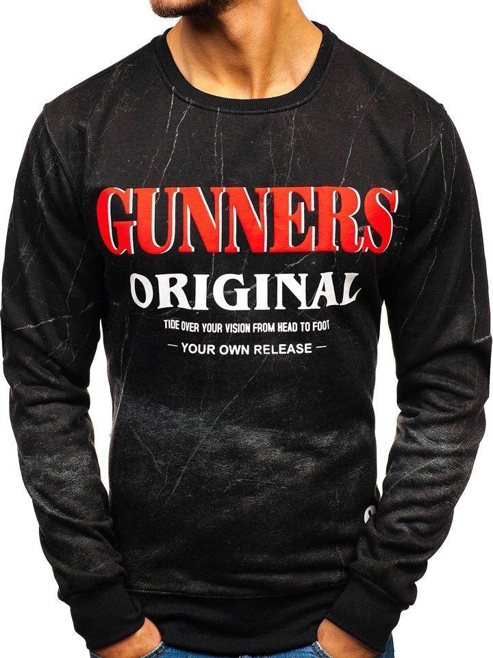 Bluză fără glugă cu imprimeu pentru bărbat neagră-grafit Bolf DD678