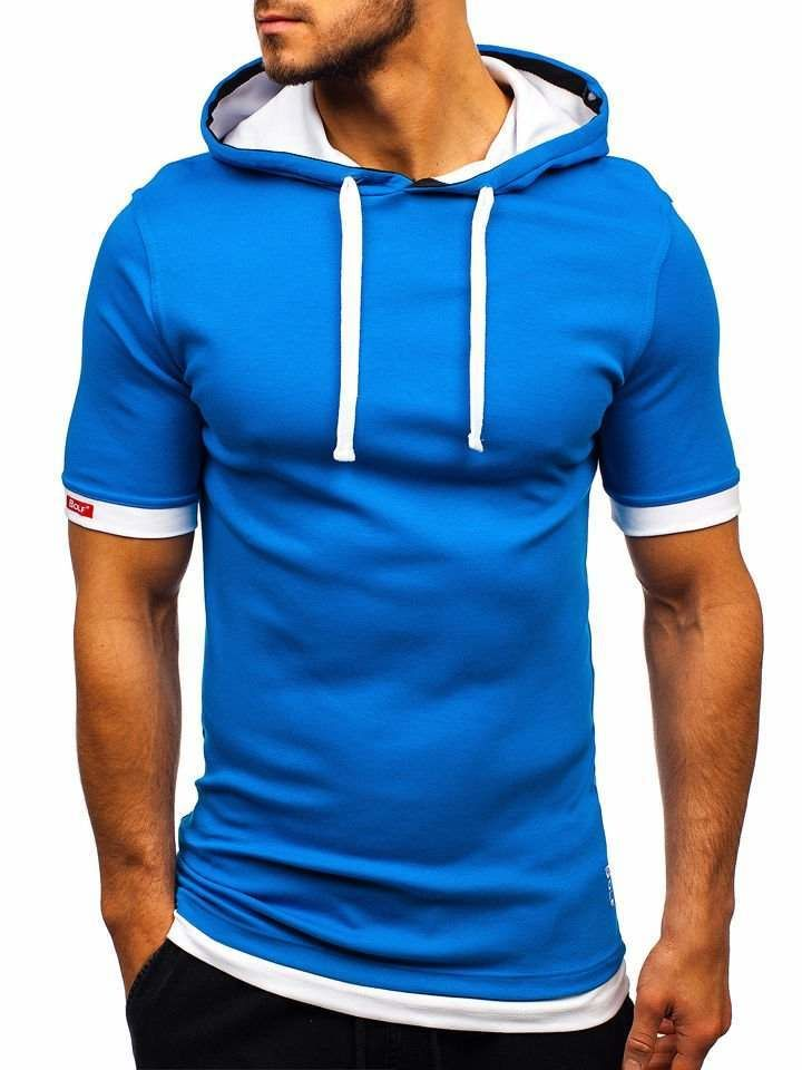 Tricou cu glugă bărbați albastru Bolf 08-1 imagine