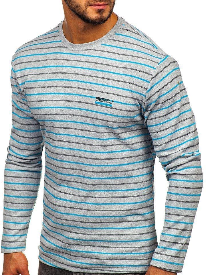 Bluza în dungi bărbati gri Bolf 1519 imagine
