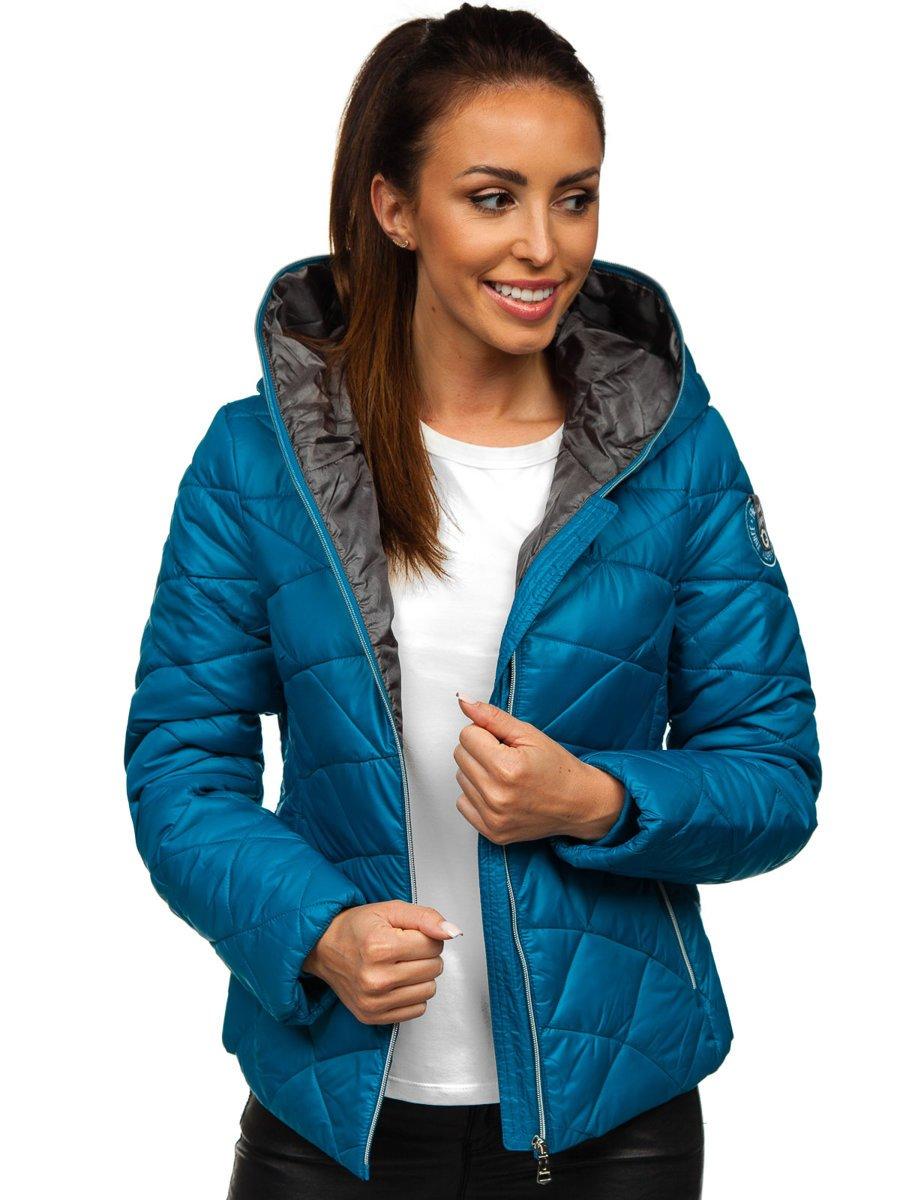 Geacă de iarnă dame cu glugă albastră Bolf A5701