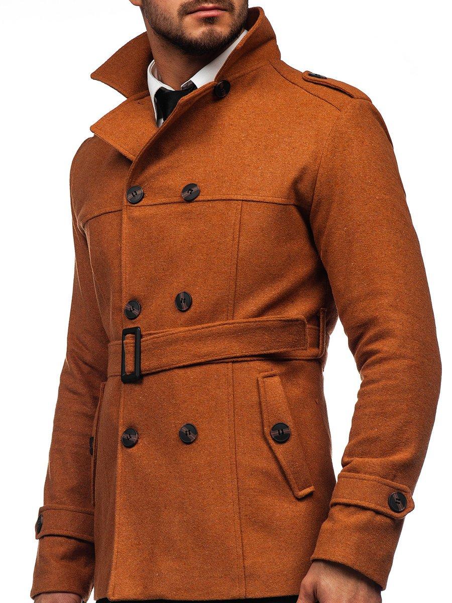 Palton maro de iarnă două rânduri de nasturi guler înalt Bolf 0009 imagine