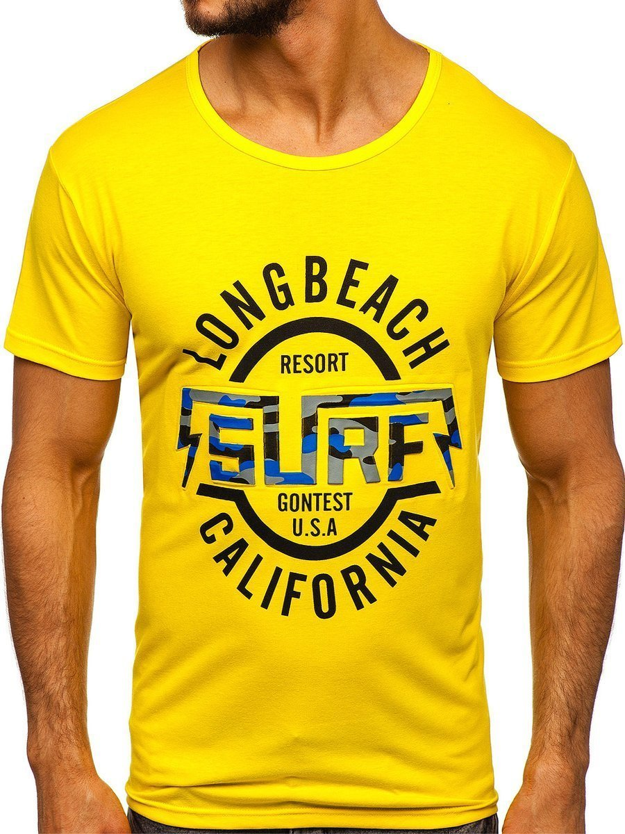 Tricou cu imprimeu bărbați galben Bolf KS2031 imagine