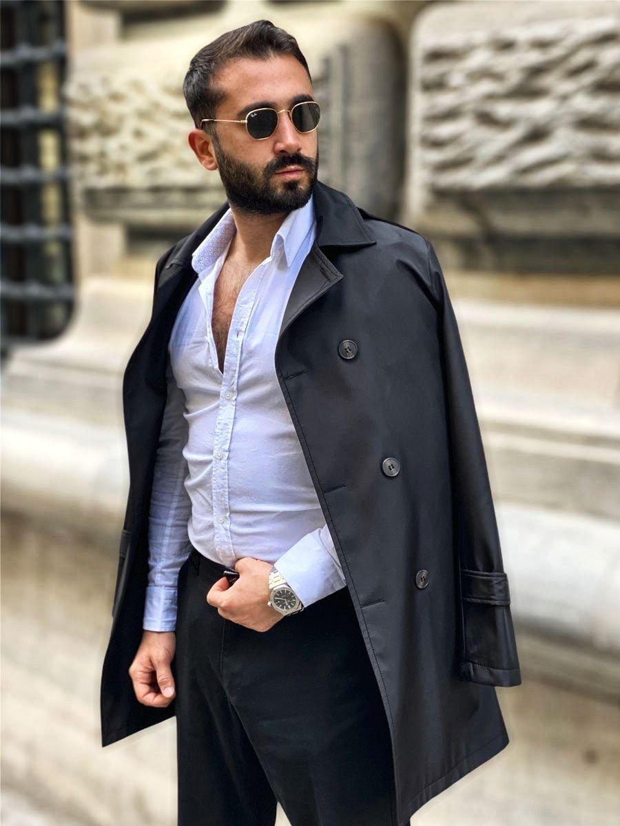 Palton negru guler înalt cu două rânduri de nasturi și curea Bolf 0005 imagine