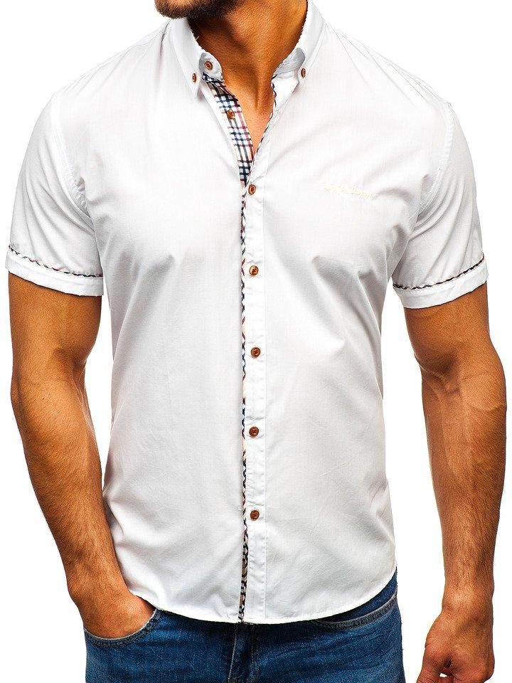Cămașă elegantă pentru bărbat cu mâneca scurtă albă Bolf 5509-1 imagine