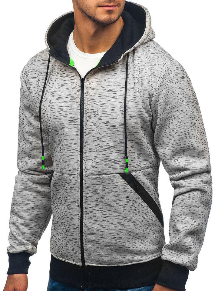 Bluză cu glugă și fermoar pentru bărbat gri Bolf 33022 imagine