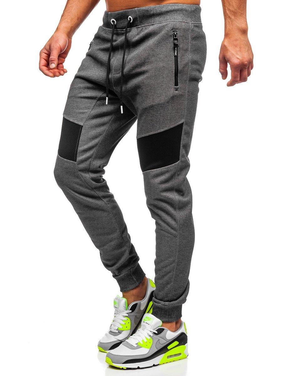Pantaloni de trening grafit-alb bărbati Bolf TC930