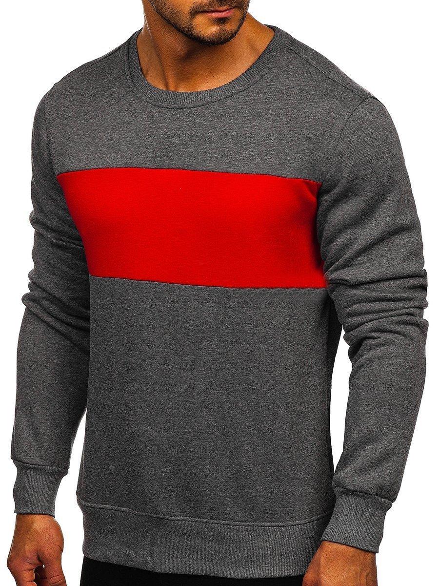 Bluză grafit-rosie bărbați Bolf 2021