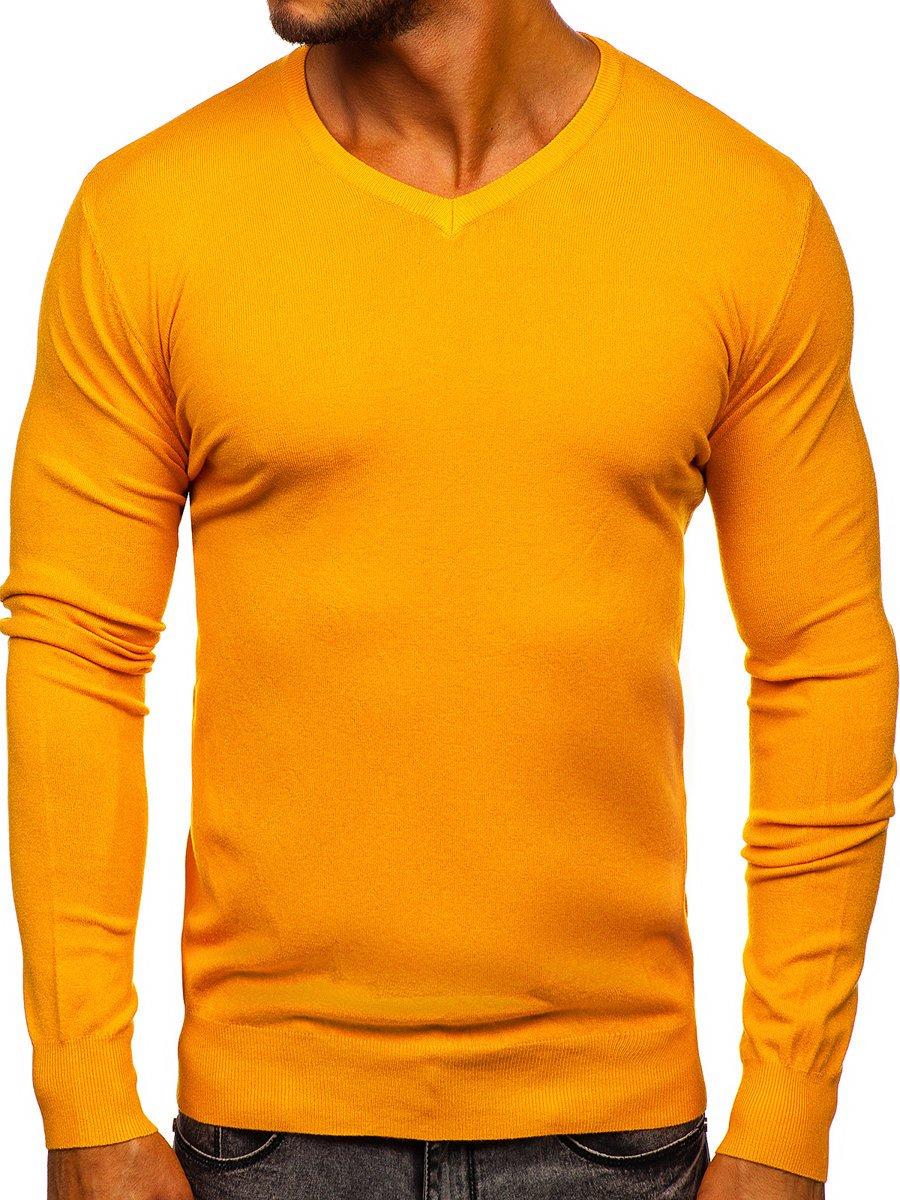 Pulover cu decolteu galben bărbați Bolf YY03