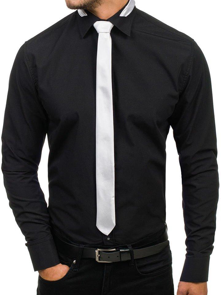 Cămașă elegantă pentru bărbat cu mâneca lungă neagră Bolf 4714-1
