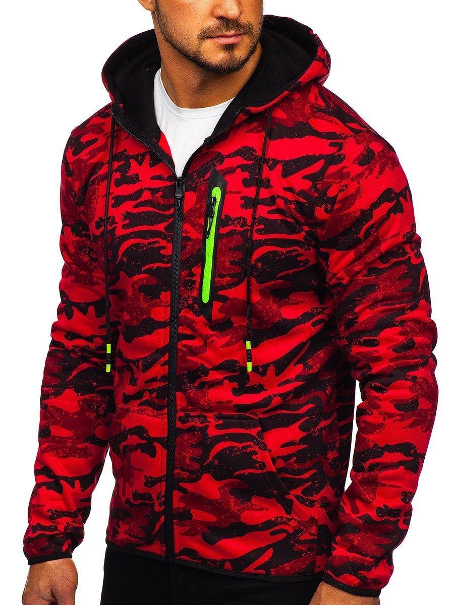 Bluză pentru bărbat cu glugă și fermoar camuflaj-roșie Bolf DD99-2