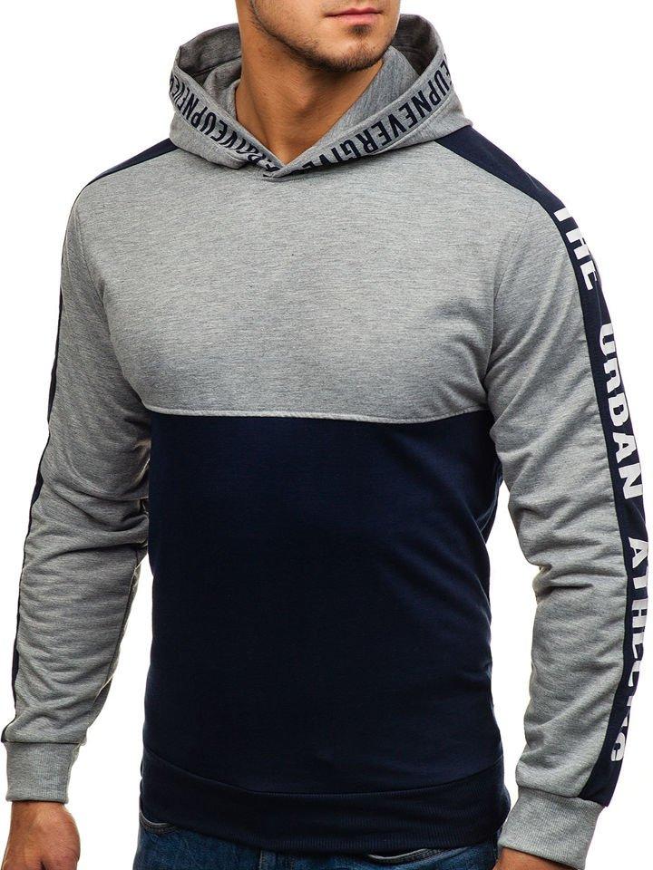 Bluză pentru bărbat cu glugă și imprimeu bluemarin-gri Bolf HY202