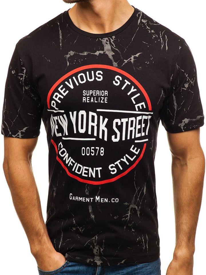 T-shirt pentru bărbat cu imprimeu negru Bolf 6301 imagine
