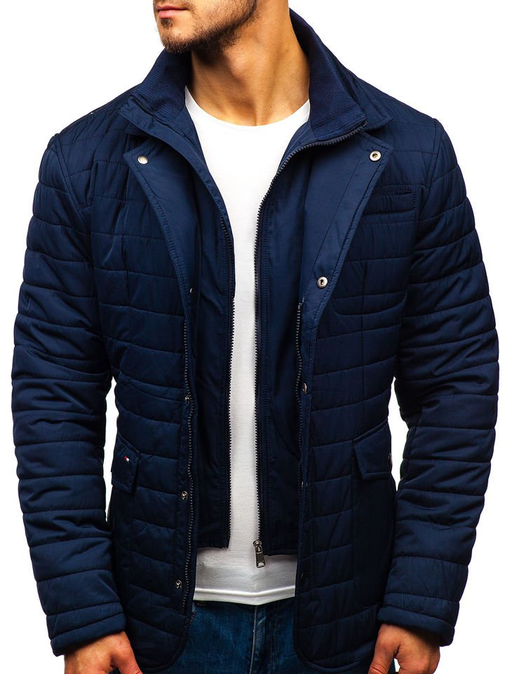 Geacă elegantă de iarnă pentru bărbat bleumarin Bolf EX201