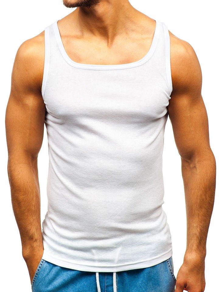 Maiou pentru bărbați fără imprimeu alb Bolf C10049 imagine