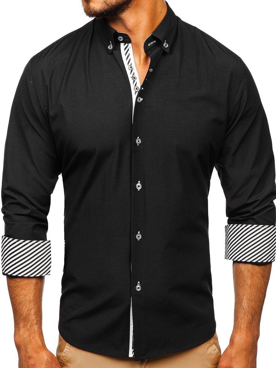 Cămașă elegantă pentru bărbat cu mâneca lungă neagră Bolf 5796