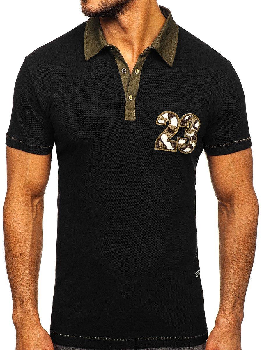 Tricou polo pentru bărbat negru Bolf 2058 imagine