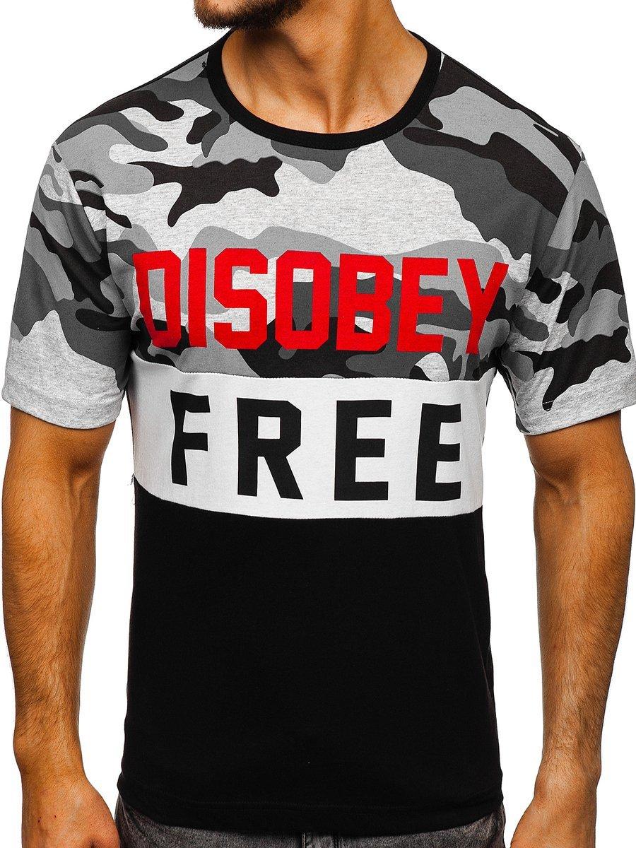 T-shirt pentru bărbat cu imprimeu camuflaj-negru Bolf 6308