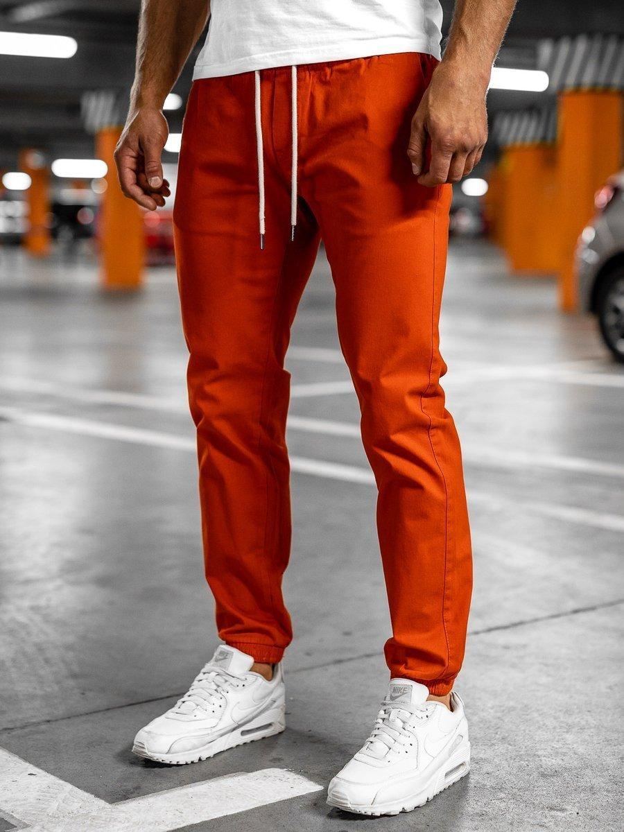 Pantaloni joggers portocaliu-negru Bolf 1145