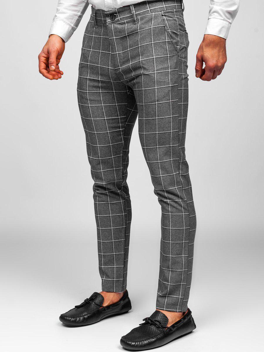 Pantaloni gri chinos în carouri Bolf 0002 imagine